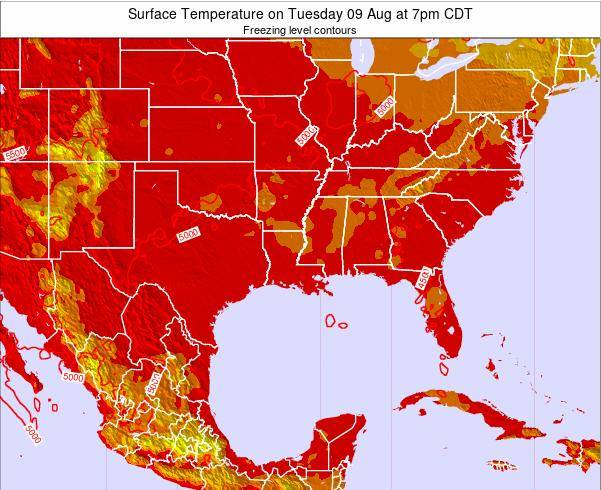Louisiana Surface Temperature on Sunday 08 Dec at 12am CST