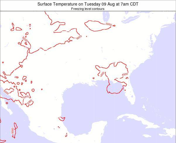Louisiana Surface Temperature on Tuesday 22 Apr at 1pm CDT