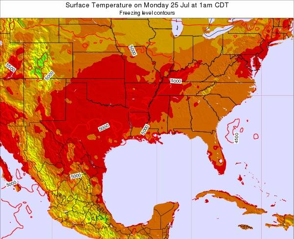 Louisiana Surface Temperature on Sunday 23 Jun at 1am CDT
