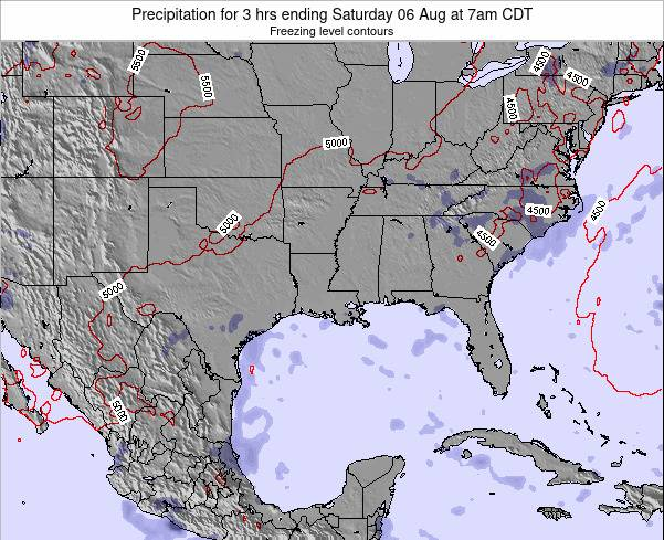 Louisiana Precipitation for 3 hrs ending Sunday 26 May at 7pm CDT map