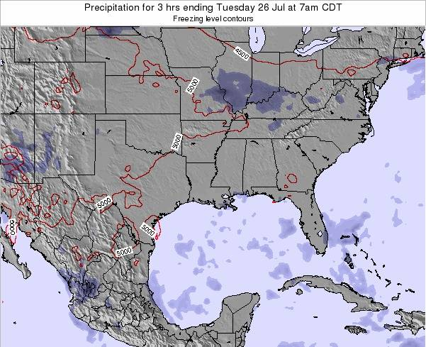 Louisiana Precipitation for 3 hrs ending Wednesday 17 Feb at 6pm CST