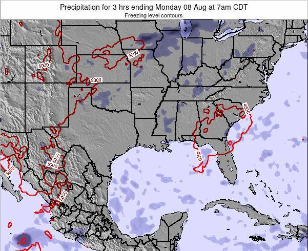 Louisiana Precipitation for 3 hrs ending Tuesday 25 Sep at 1pm CDT map
