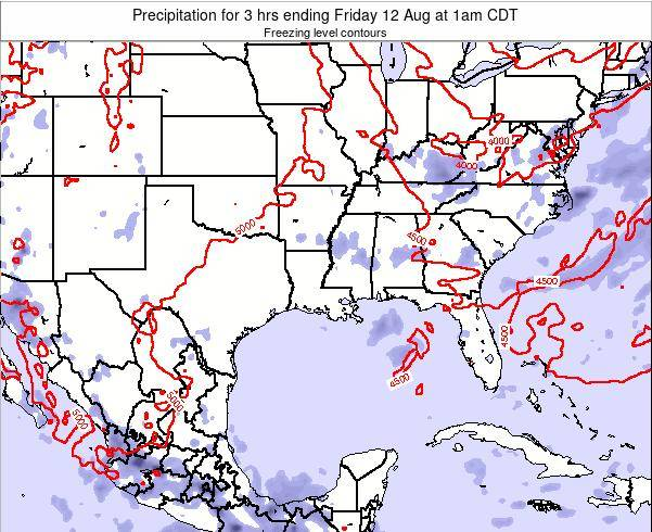 Louisiana Precipitation for 3 hrs ending Wednesday 11 Dec at 6pm CST