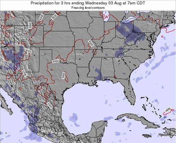 Louisiana Precipitation for 3 hrs ending Tuesday 27 Mar at 1am CDT map
