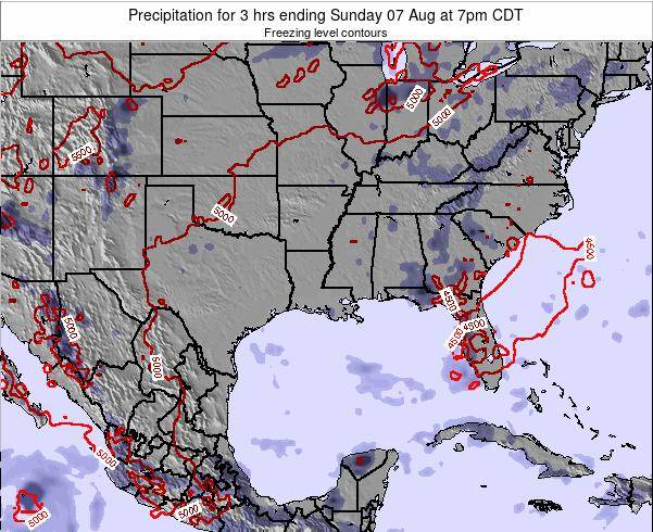 Louisiana Precipitation for 3 hrs ending Sunday 22 Apr at 1pm CDT map