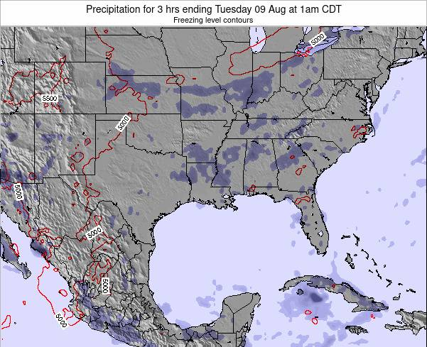 Louisiana Precipitation for 3 hrs ending Saturday 15 Dec at 12am CST map