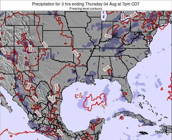 Louisiana Precipitation for 3 hrs ending Tuesday 23 Apr at 1pm CDT map