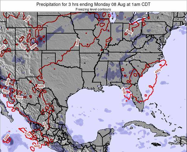 Louisiana Precipitation for 3 hrs ending Thursday 20 Jun at 7pm CDT