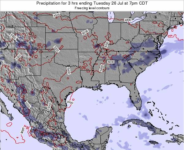Louisiana Precipitation for 3 hrs ending Saturday 25 Nov at 12pm CST map