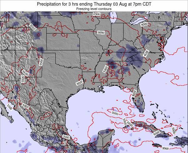 Louisiana Precipitation for 3 hrs ending Saturday 24 Mar at 7am CDT map