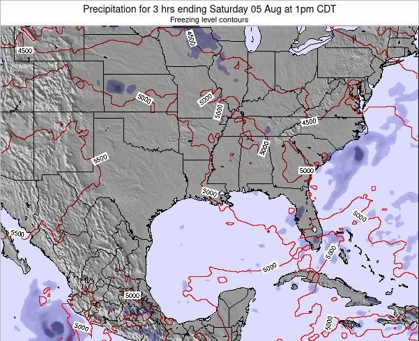 Louisiana Precipitation for 3 hrs ending Thursday 21 Jun at 7pm CDT map