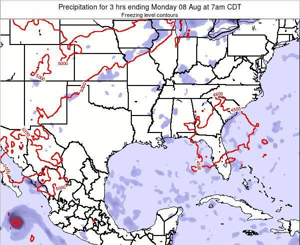 Louisiana Precipitation for 3 hrs ending Sunday 03 Aug at 7pm CDT