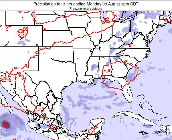 Louisiana Precipitation for 3 hrs ending Thursday 27 Sep at 1pm CDT map