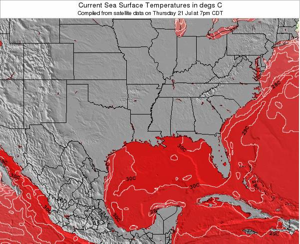 Louisiana Sea Temperature Map