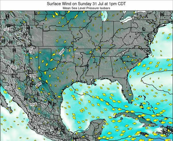 Louisiana Surface Wind on Thursday 20 Jun at 1am CDT