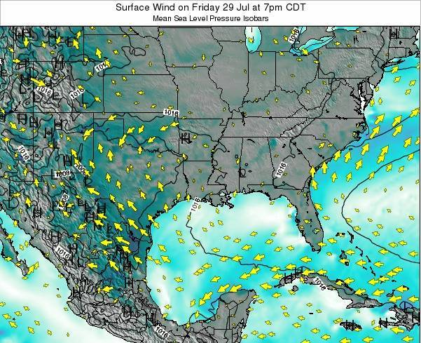 Louisiana Surface Wind on Sunday 23 Jun at 7pm CDT