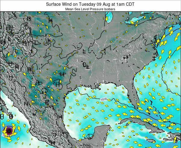 Louisiana Surface Wind on Sunday 26 May at 7pm CDT