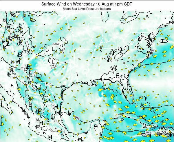 Louisiana Surface Wind on Tuesday 28 May at 7am CDT