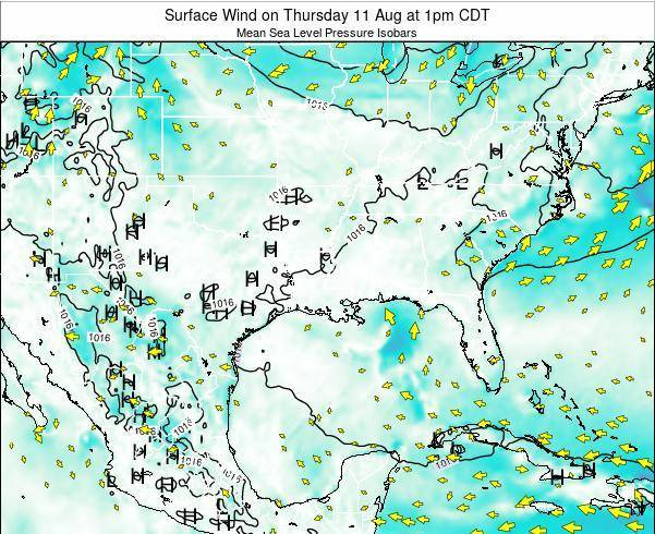 Louisiana Surface Wind on Monday 24 Jun at 1pm CDT