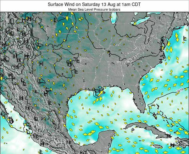 Louisiana Surface Wind on Wednesday 29 May at 7pm CDT