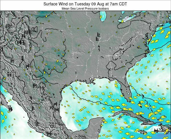 Arkansas Surface Wind on Tuesday 21 May at 7am CDT map