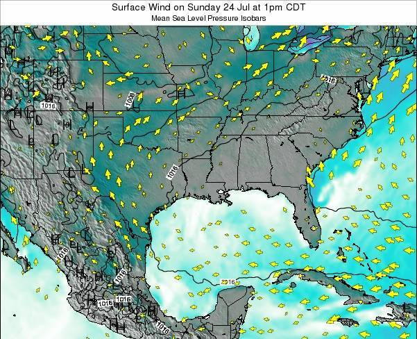 Arkansas Surface Wind on Tuesday 21 May at 1pm CDT map