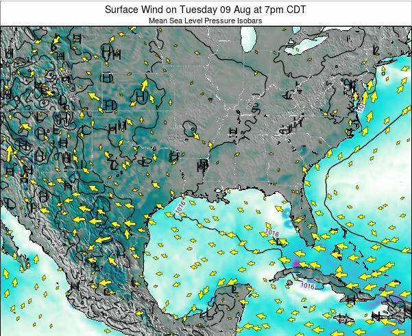 Louisiana Surface Wind on Saturday 25 May at 1pm CDT
