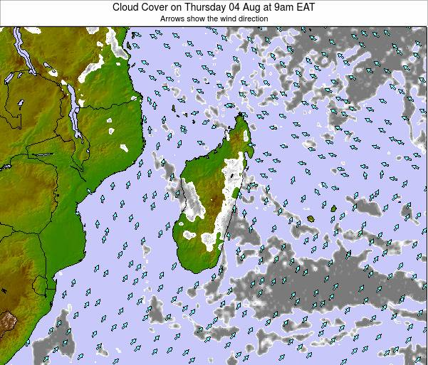 Madagascar Cloud Cover on Thursday 30 May at 9pm EAT