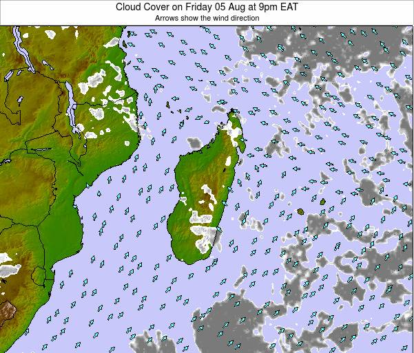 Madagascar Cloud Cover on Saturday 25 May at 9pm EAT