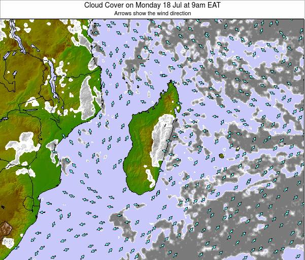 Madagascar Cloud Cover on Monday 27 May at 9pm EAT