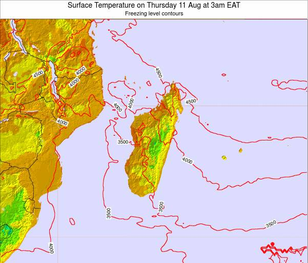 Mauritius Surface Temperature on Monday 27 May at 9pm EAT map