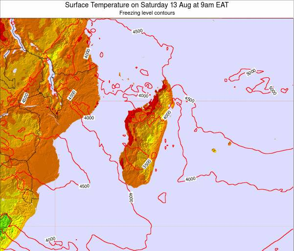 Reunion Surface Temperature on Sunday 26 Nov at 9pm EAT map
