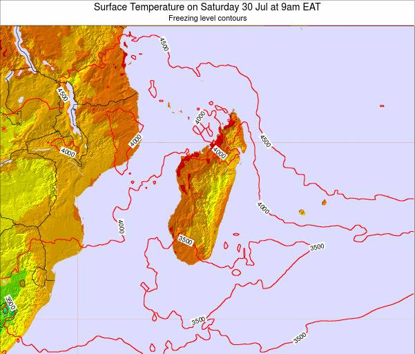 Reunion Surface Temperature on Sunday 26 Nov at 3am EAT map