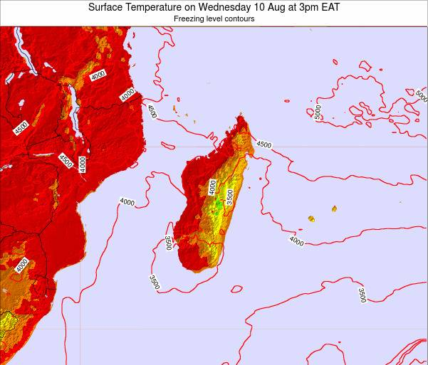 Mauritius Surface Temperature on Wednesday 29 May at 9pm EAT map