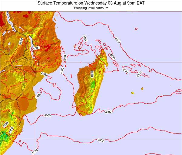 Reunion Surface Temperature on Thursday 28 Sep at 9pm EAT