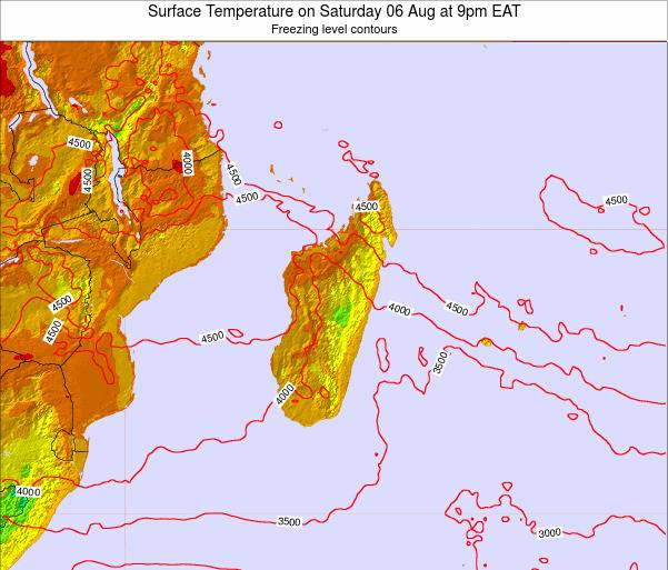 Reunion Surface Temperature on Wednesday 19 Jun at 3pm EAT