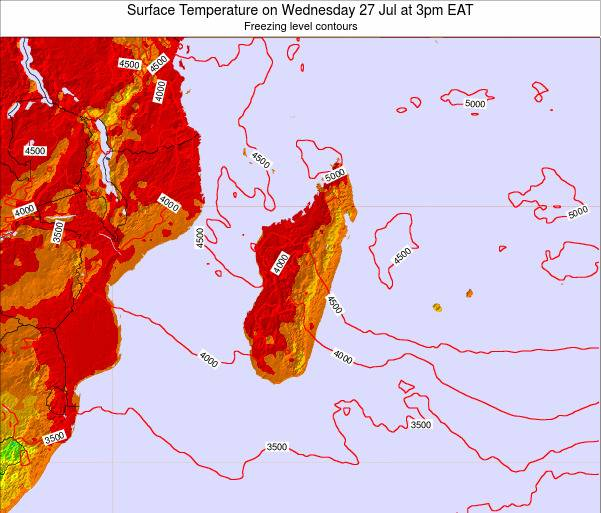 Reunion Surface Temperature on Saturday 25 May at 9pm EAT
