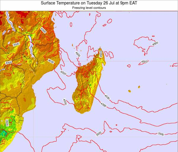 Reunion Surface Temperature on Sunday 09 Mar at 9pm EAT
