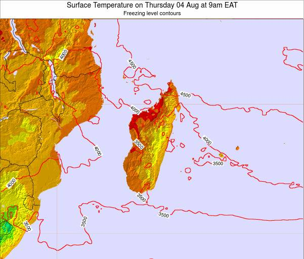 Reunion Surface Temperature on Saturday 23 Jun at 3pm EAT map