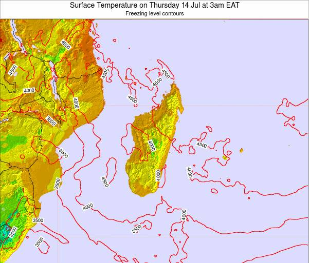 Comoros Surface Temperature on Friday 15 Dec at 3am EAT map