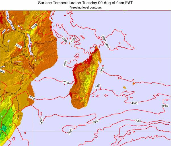 Reunion Surface Temperature on Thursday 23 Nov at 3am EAT map