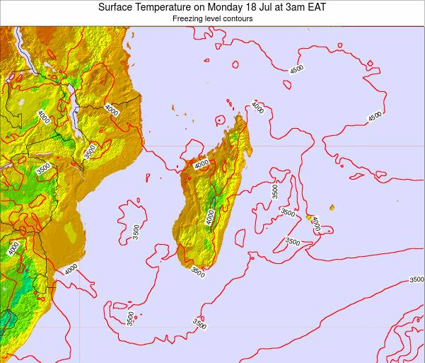 Reunion Surface Temperature on Wednesday 27 Sep at 9am EAT
