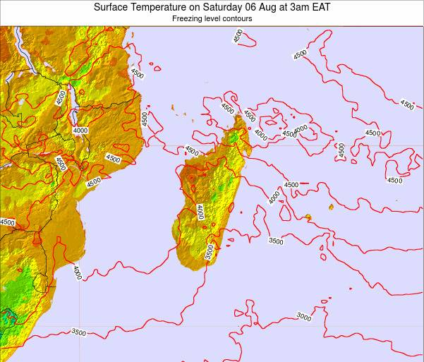 Mauritius Surface Temperature on Saturday 25 May at 3am EAT map