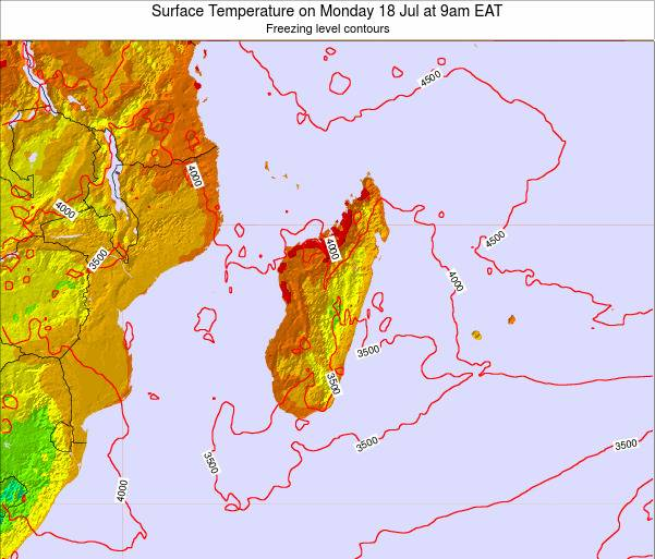 Reunion Surface Temperature on Friday 29 Sep at 3pm EAT