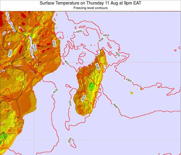 Reunion Surface Temperature on Wednesday 27 Jun at 9pm EAT map