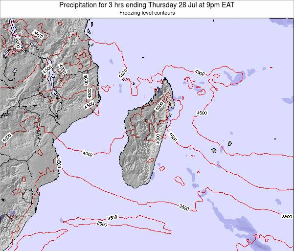 Reunion Precipitation for 3 hrs ending Saturday 14 Dec at 3pm EAT