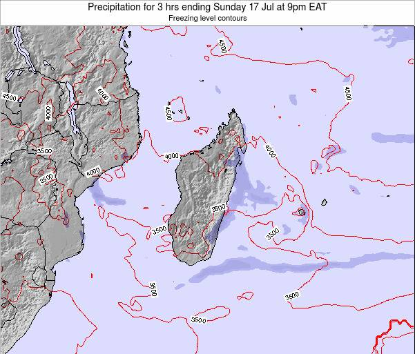 Reunion Precipitation for 3 hrs ending Sunday 03 Aug at 9am EAT