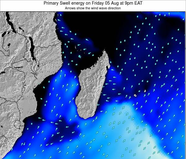 Mauritius Primary Swell energy on Monday 29 Aug at 9pm EAT