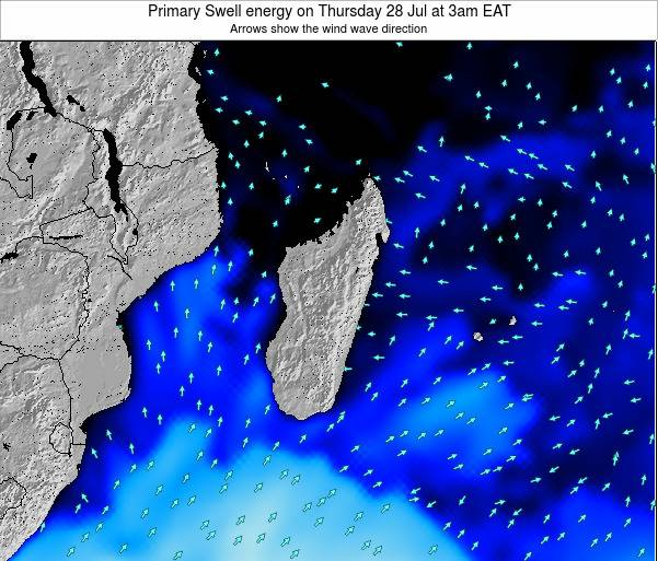 Madagascar Primary Swell energy on Wednesday 22 May at 9pm EAT