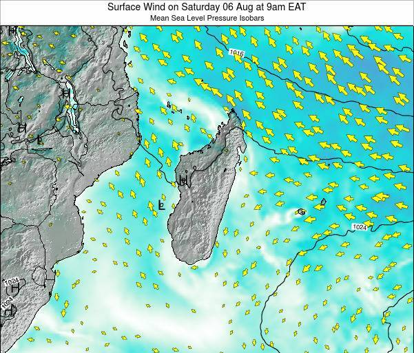 Mauritius Surface Wind on Thursday 23 May at 9pm EAT